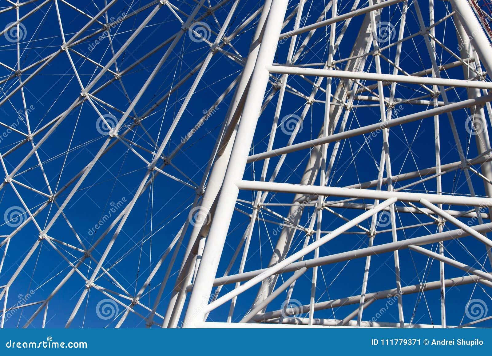 Metal Ferris wheel against the blue sky