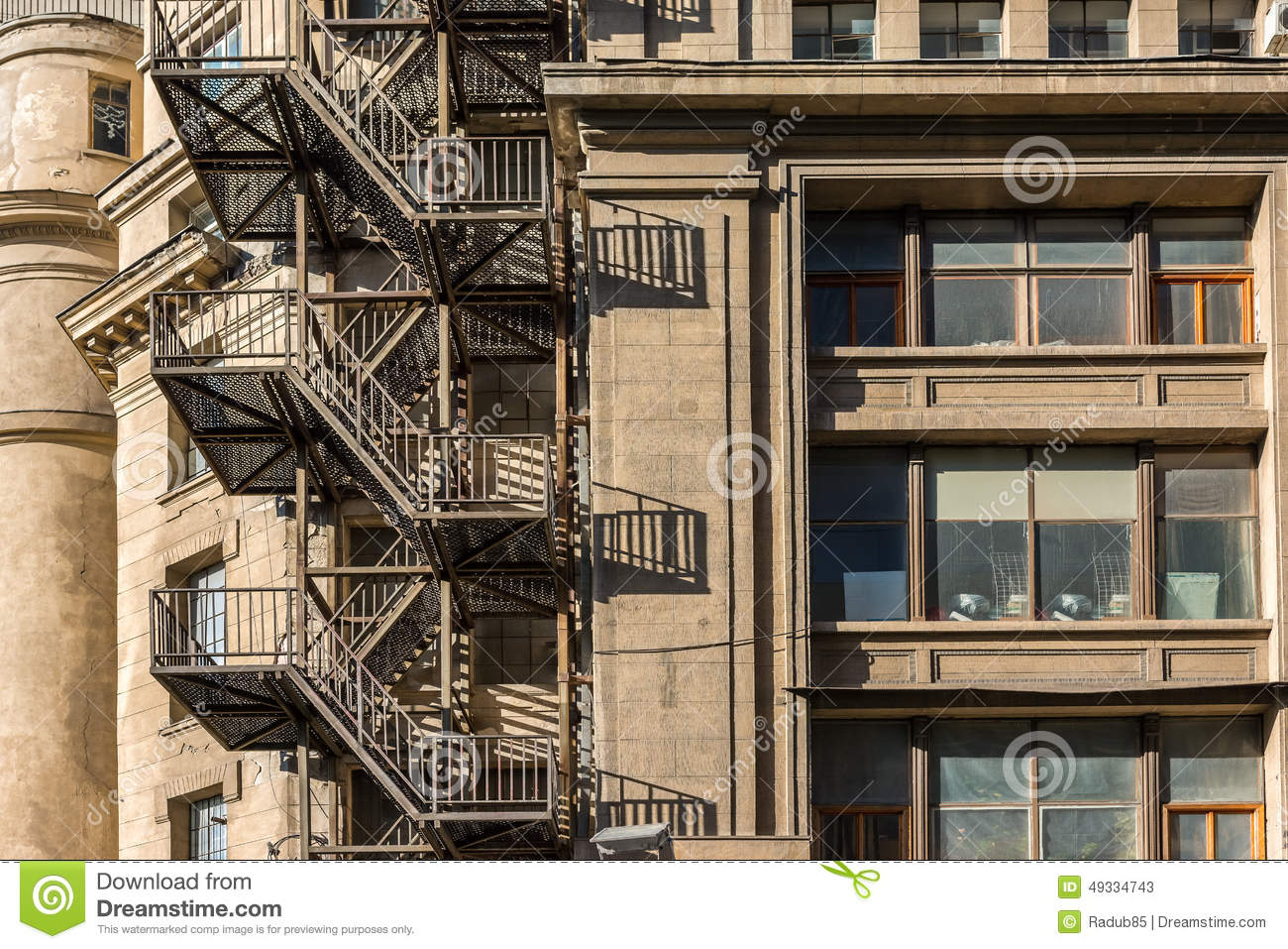 Metal Fire Escape Stairs On Old Building