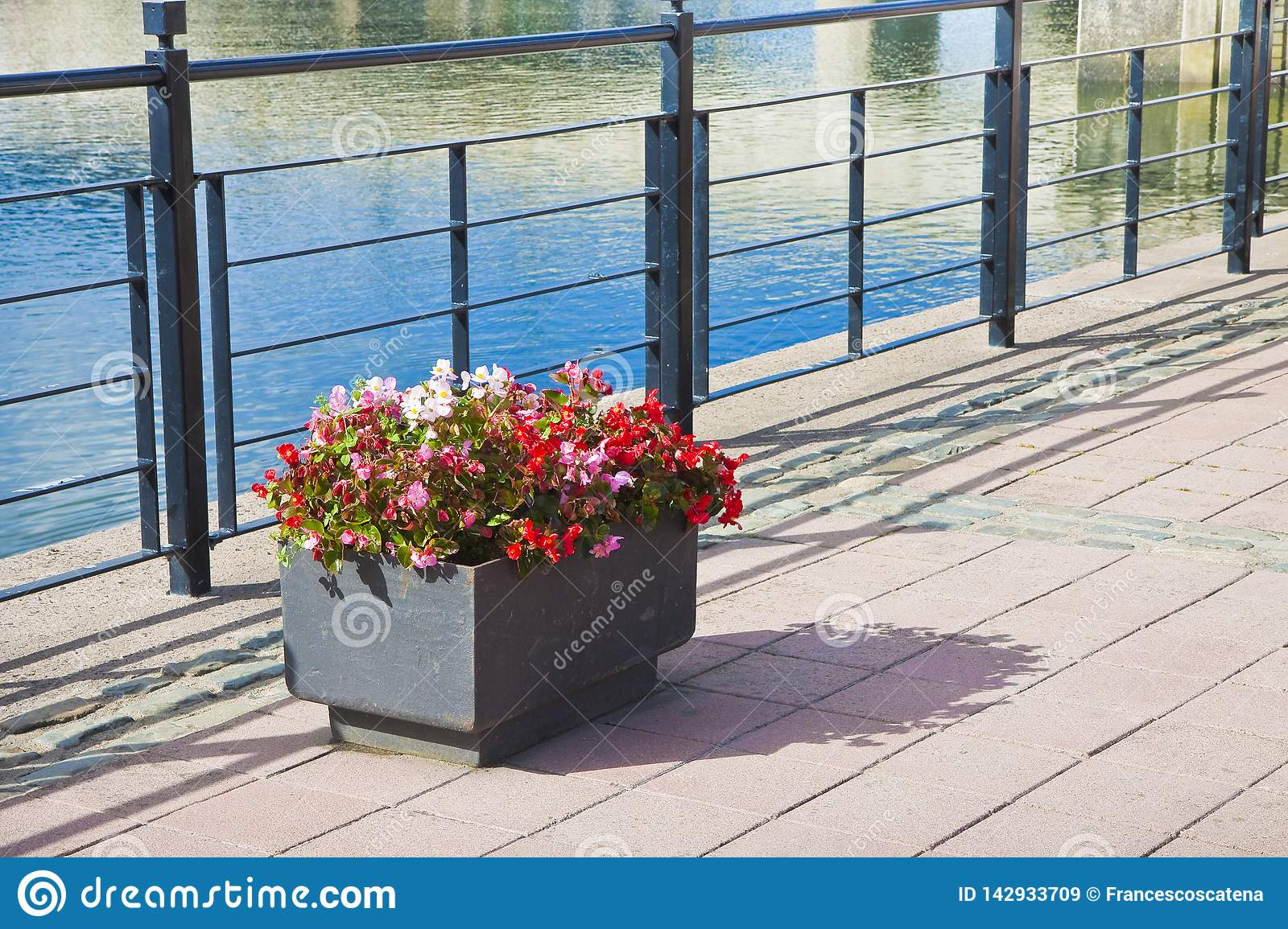 Metal flowerpot with red flowers in a sidewalk by the lake