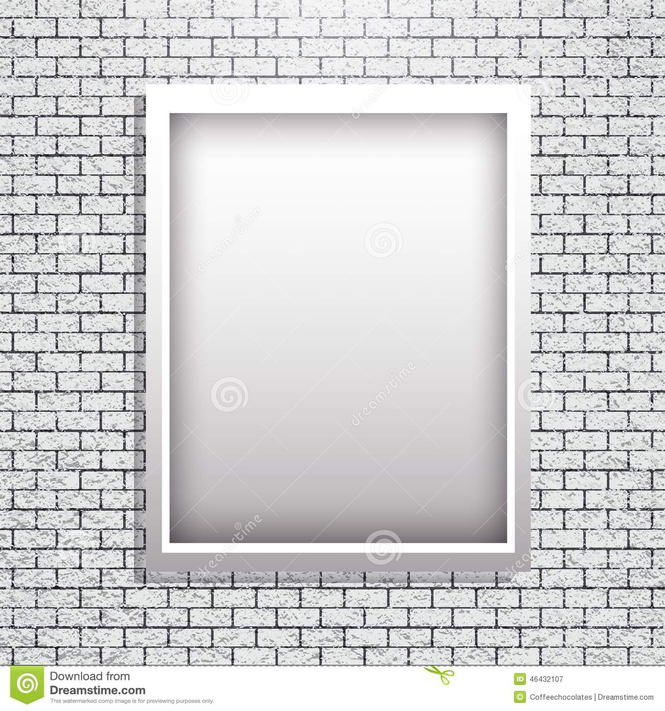 Metal Frame On Brick Wall Vector Stock Vector - Illustration of ...