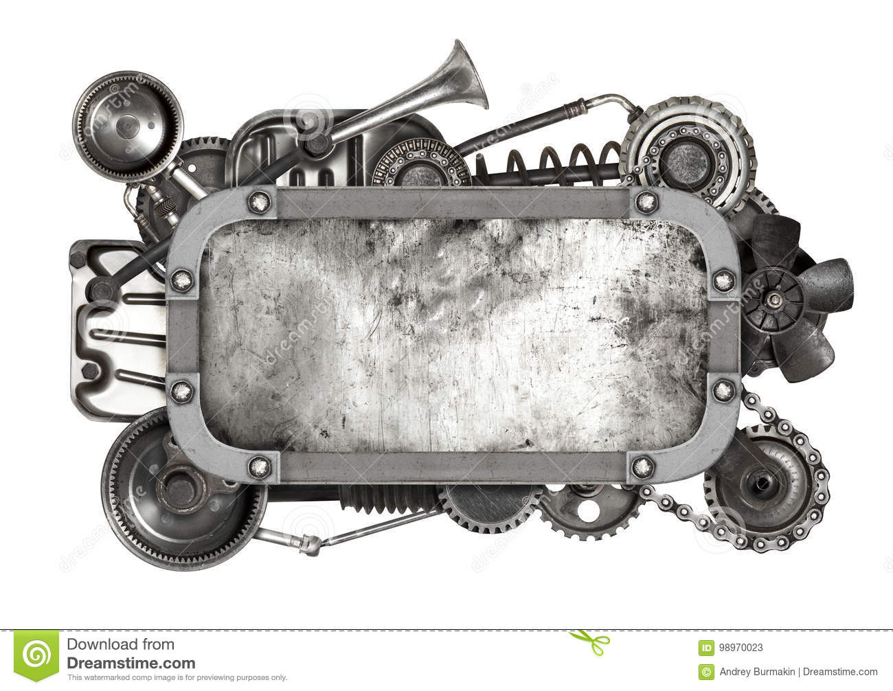 Metal Frame And Old Auto Spare Parts Car Isolated Stock Image ...