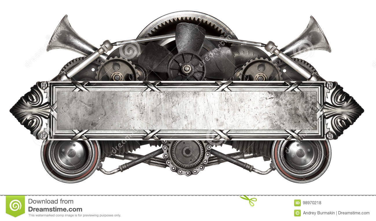 Metal Frame And Old Auto Spare Parts Car Isolated Stock Photo ...