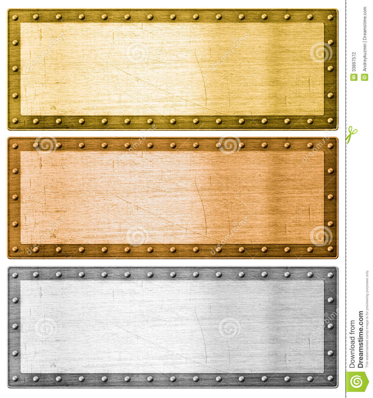 Metal Frames Silver, Gold And Bronze With Clipping Path Stock