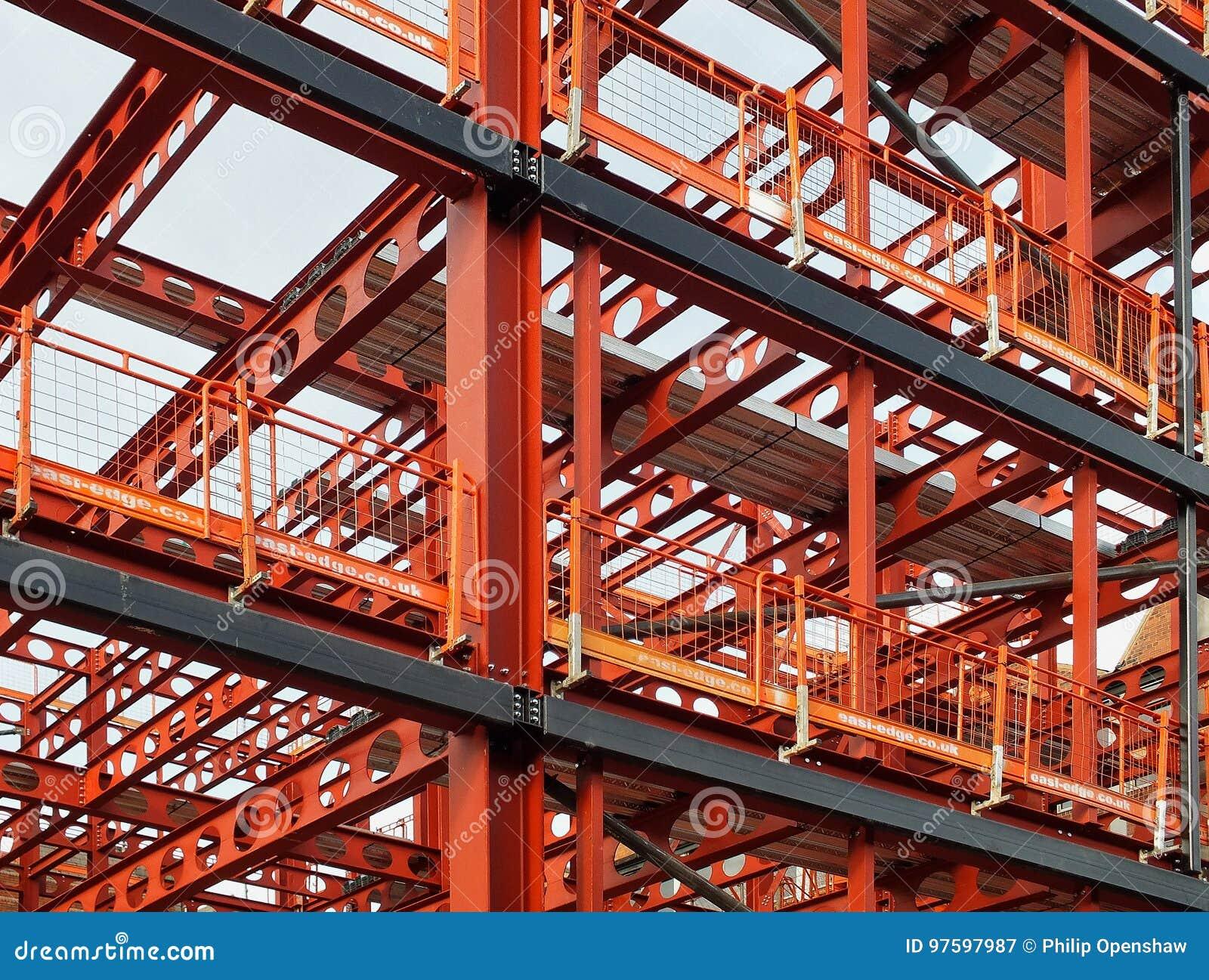 Metal framework of new building development