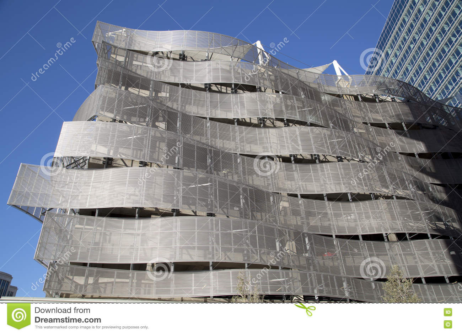 Metal garage exterior in the city