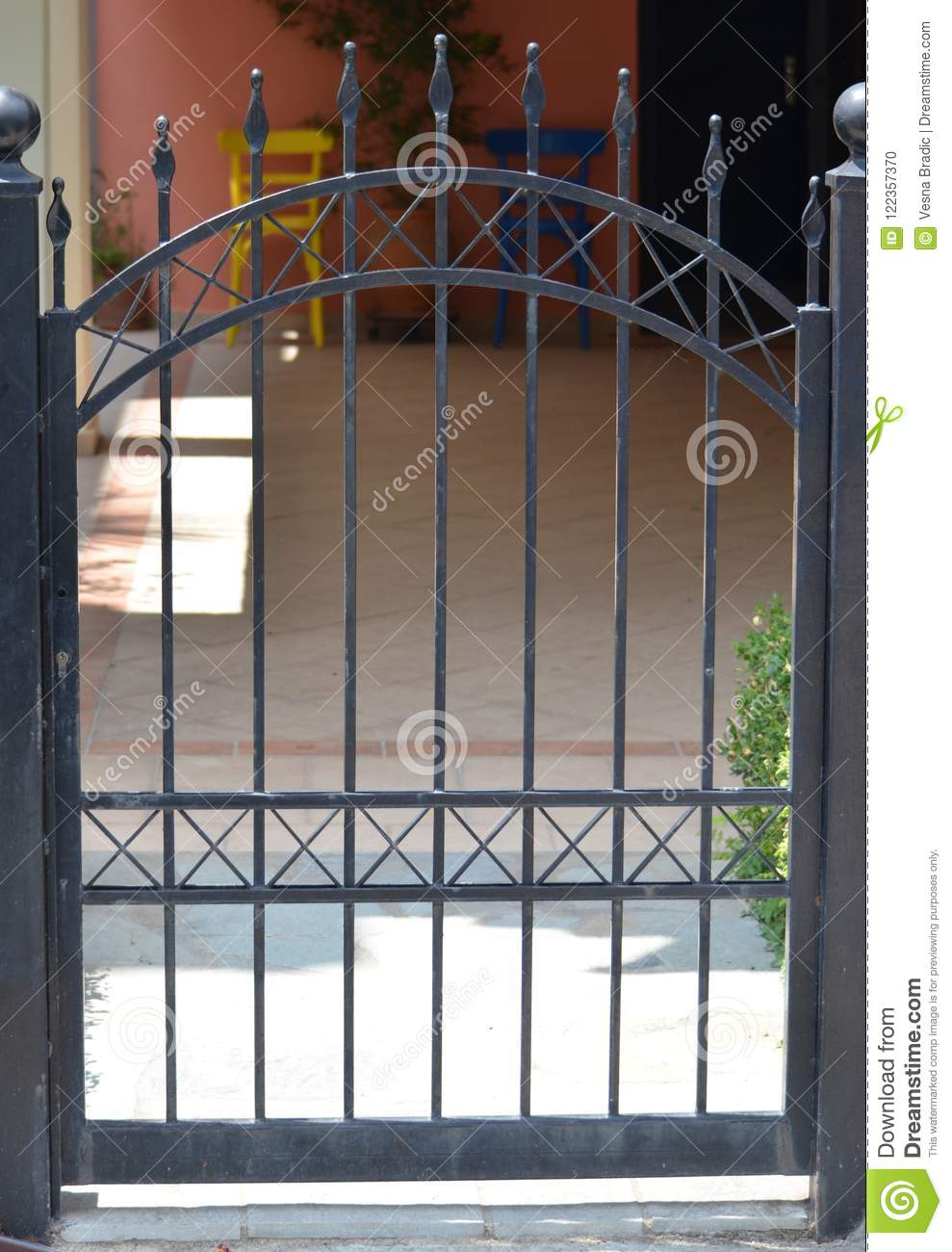 Modern Metal Gate With Modern Metal Gate Of Private House Metal Gate Of Private House Stock Photo Image Fence