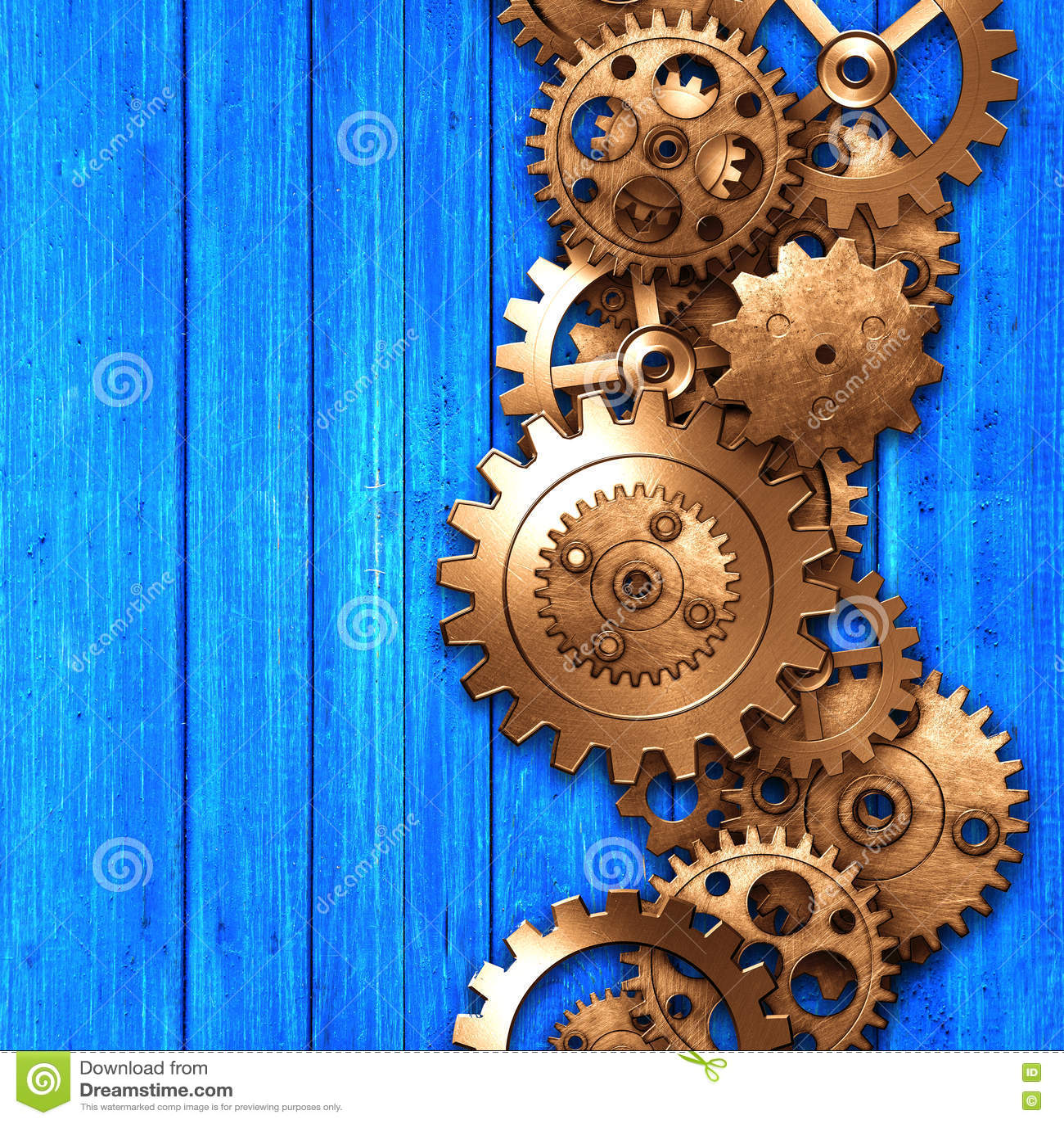 Metal gear on blue rustic wood board stock illustration - Fabric that looks like metal ...