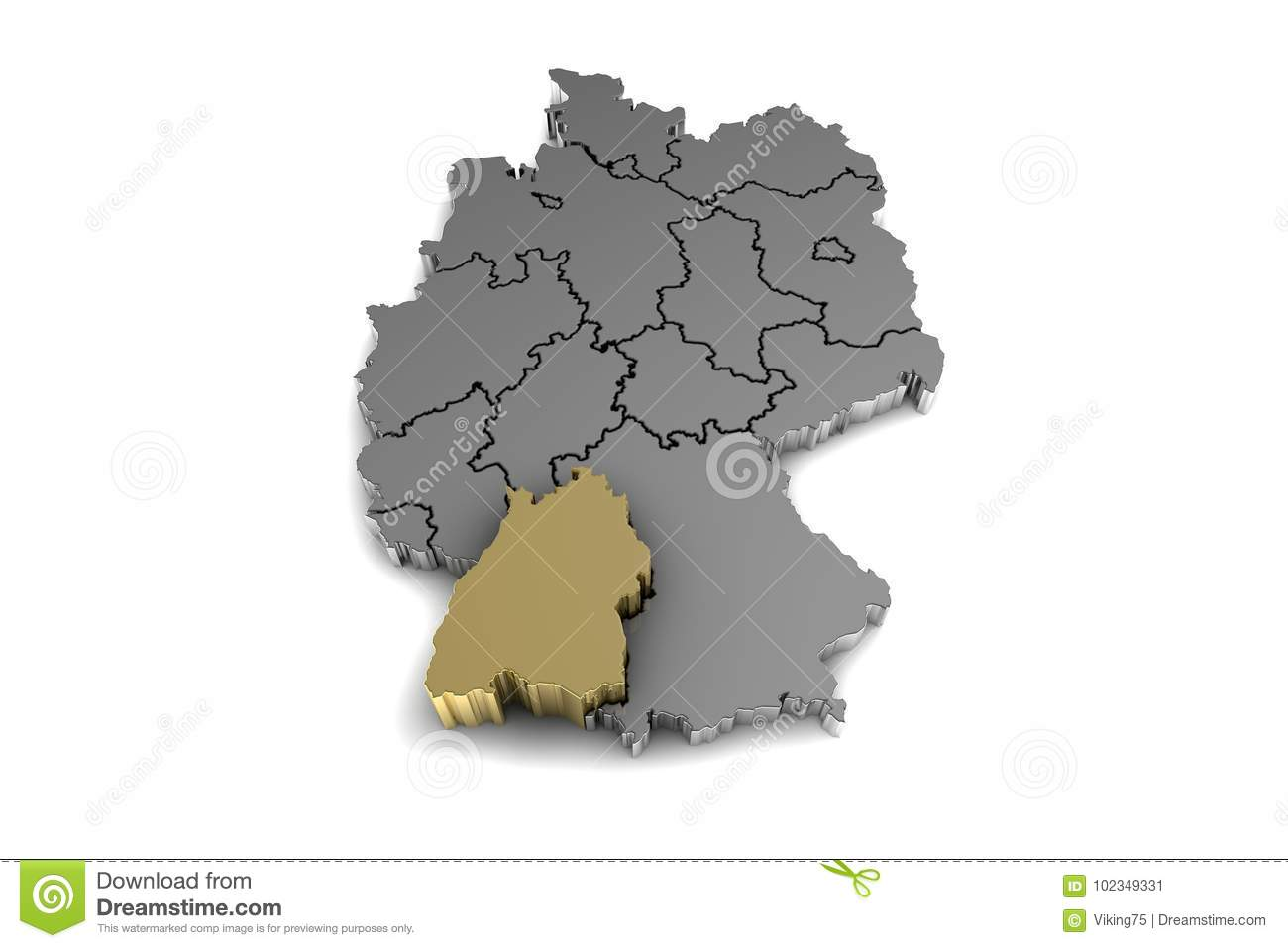 Metal Germany Map With Baden Wurttemberg Region Highlighted In