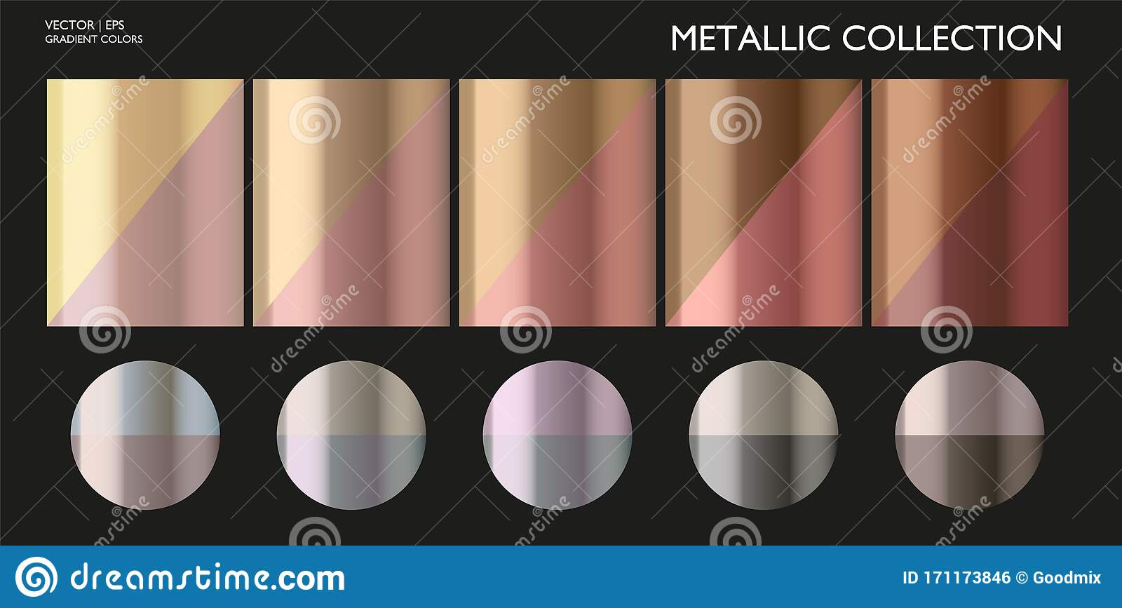 Metal Gradient Color Set Chrome Texture Surface Background Template For Screen Mobile Digital Web Metallic And Chromium Shade Editorial Photo Illustration Of Brassy Colors 171173846
