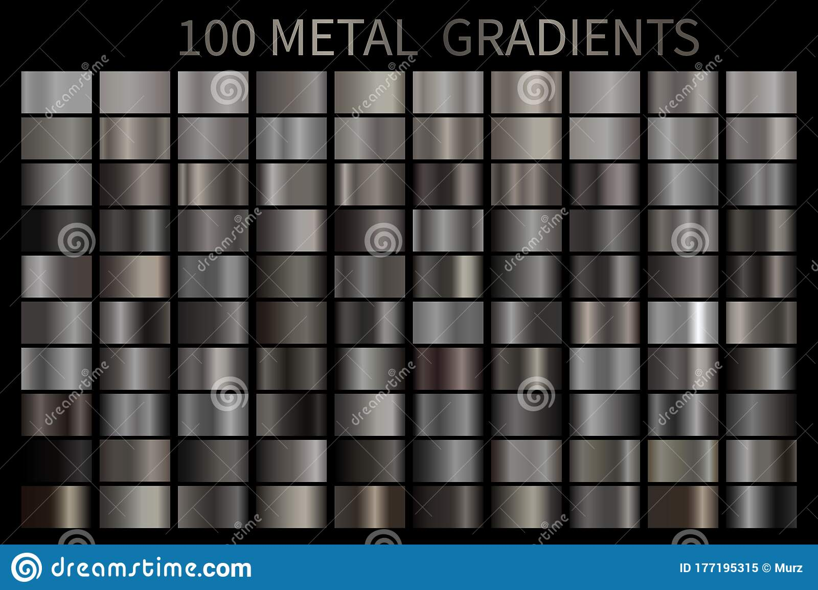Metal Gradient Color Set Vector Metallic Chrome Texture Surface Background Template For Screen Stock Vector Illustration Of Gradient Colorful 177195315