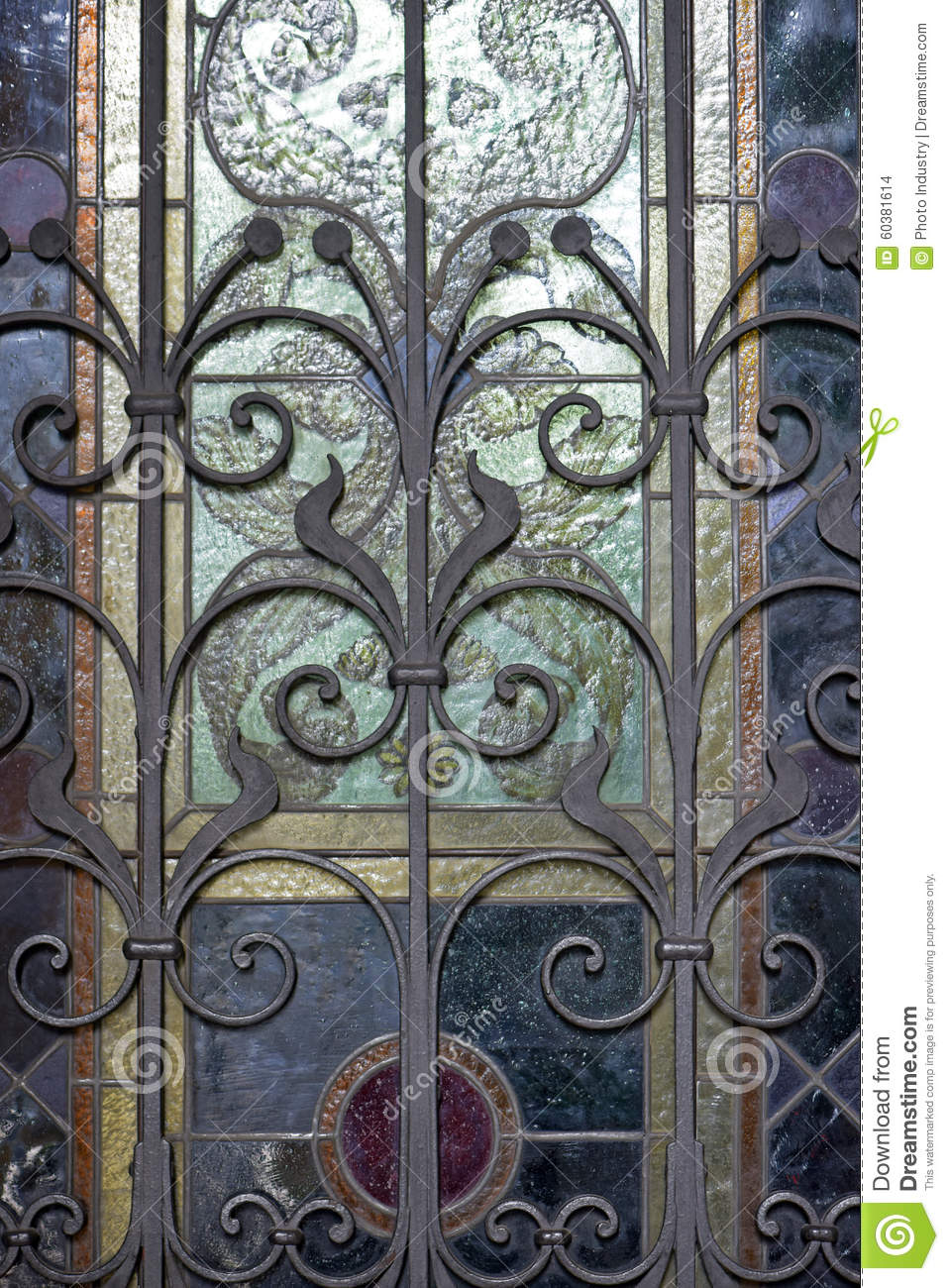 Metal Grating In Art Deco Style Stock Photo - Image of glass ...