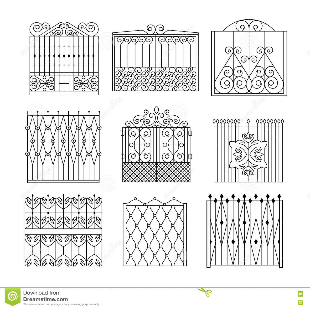 Metal Grid Fencing Set Of Different Designs Stock Vector ...