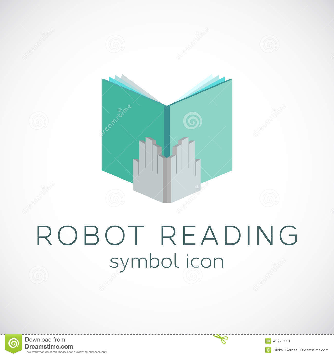 metal hands with book template robot reading illustration 43720110