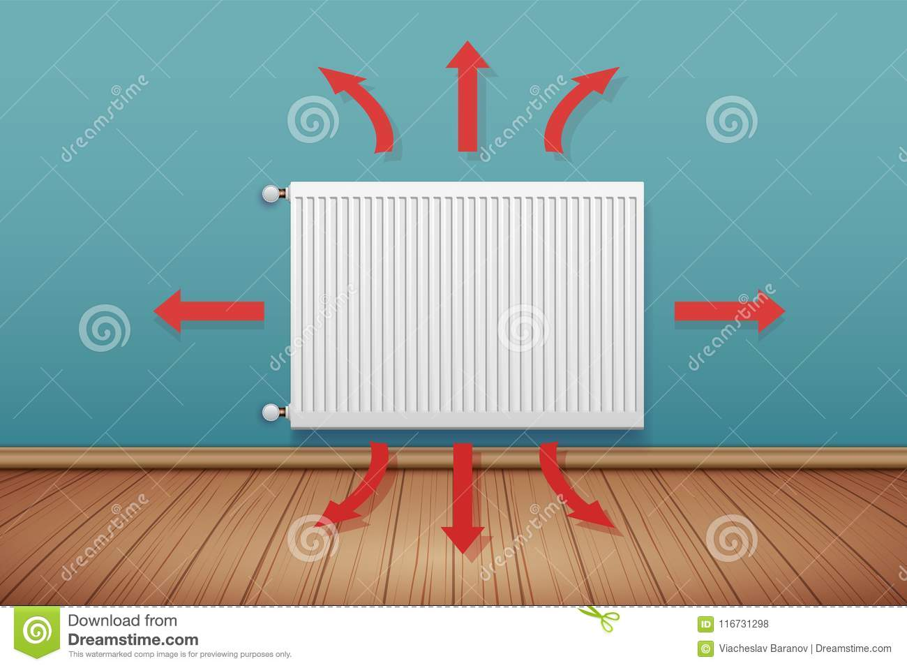 Metal Heating Radiator In Room Stock Vector - Illustration of house ...