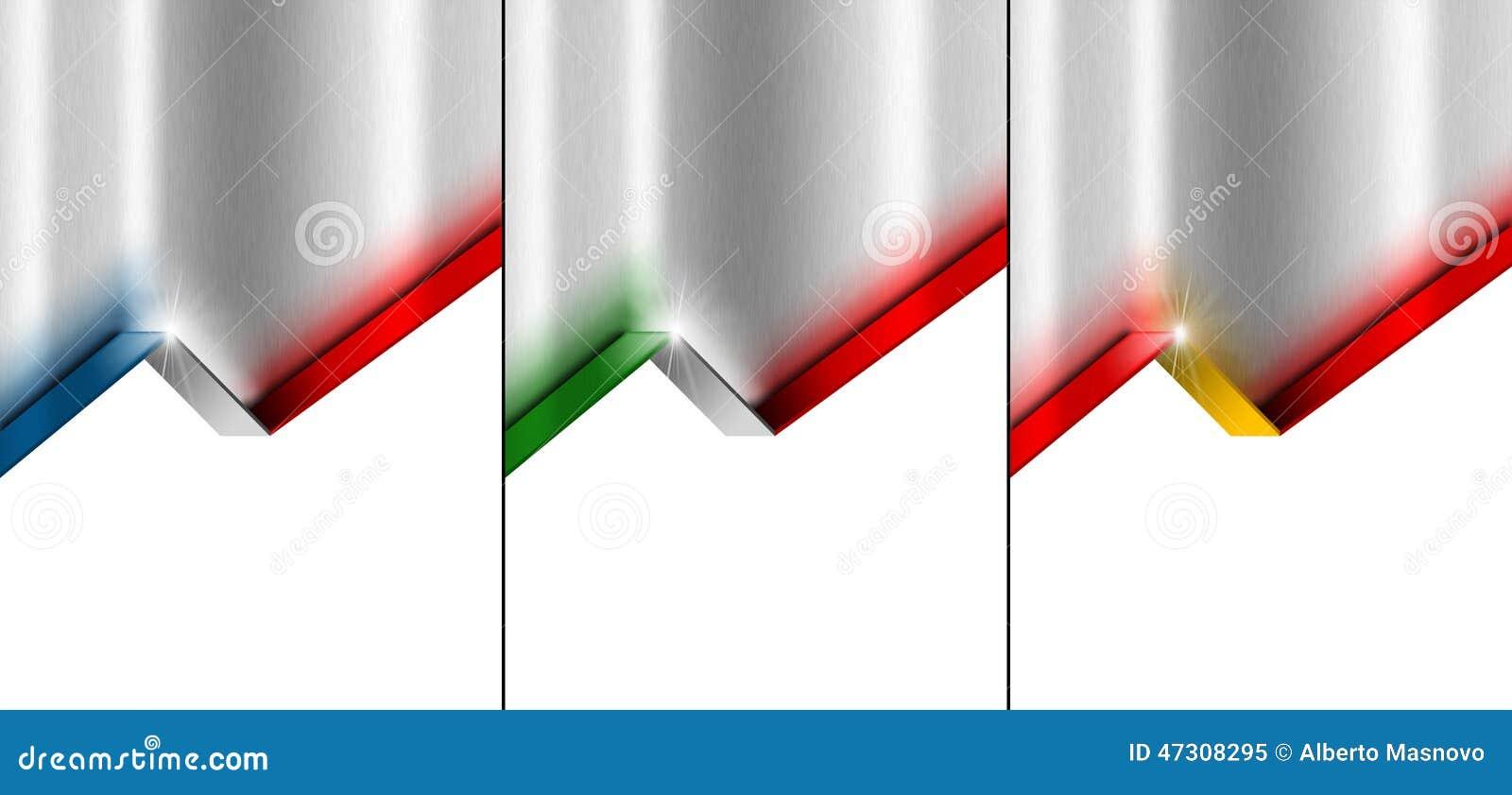 Metal il fondo con 4 bandiera, francesi, Spagnoli ed italiano