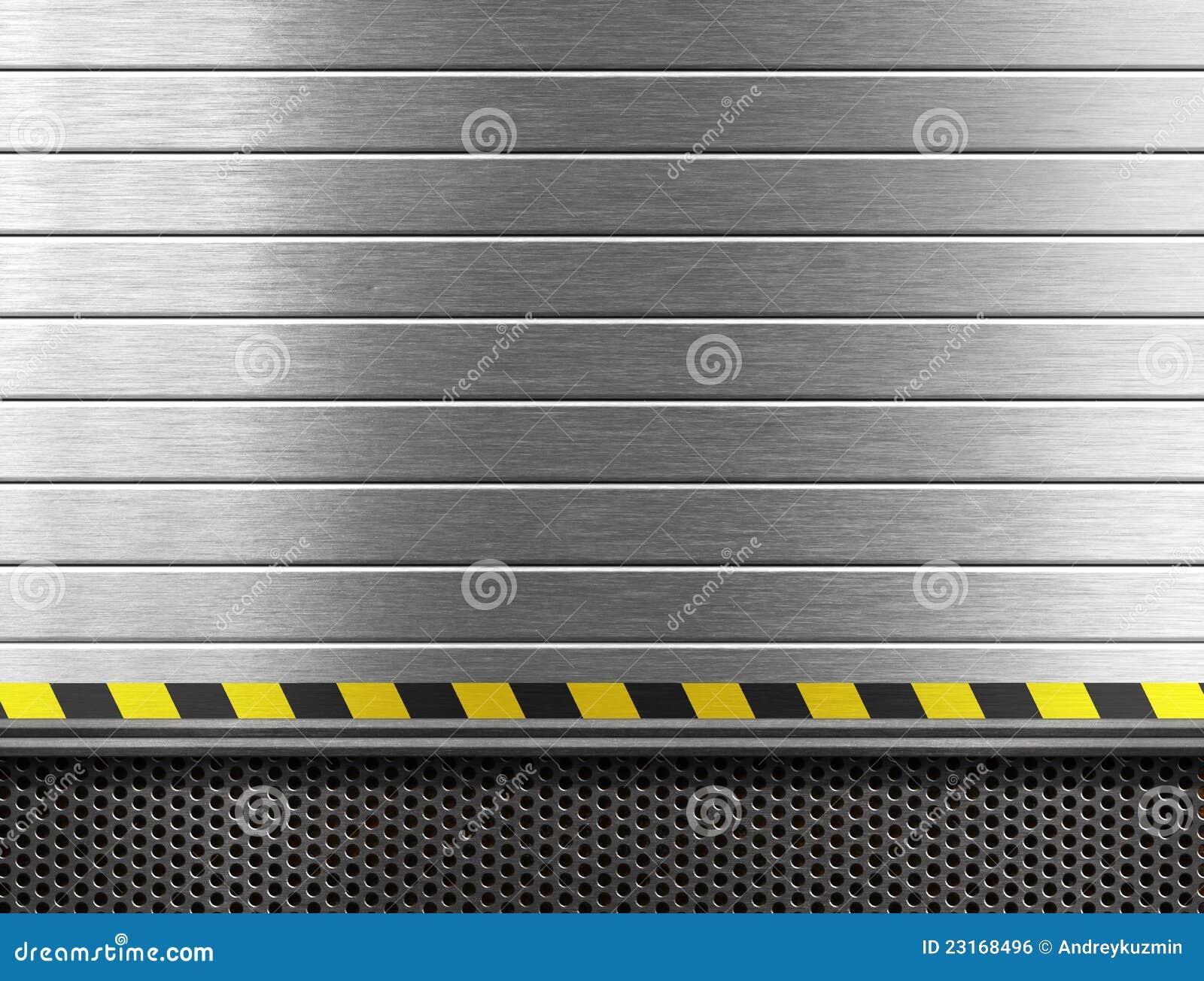 Metal industrial background with hazard stripes
