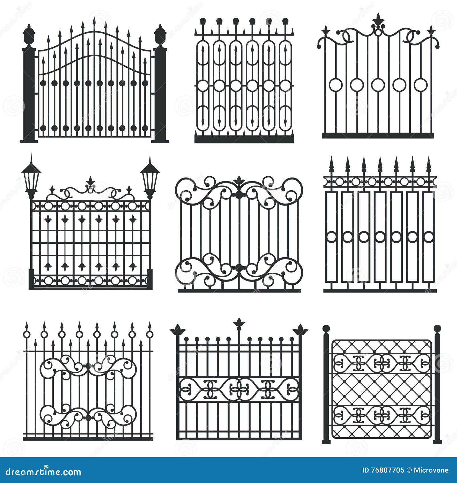 Metal Iron Gates Grilles Fences Vector Set Cartoon