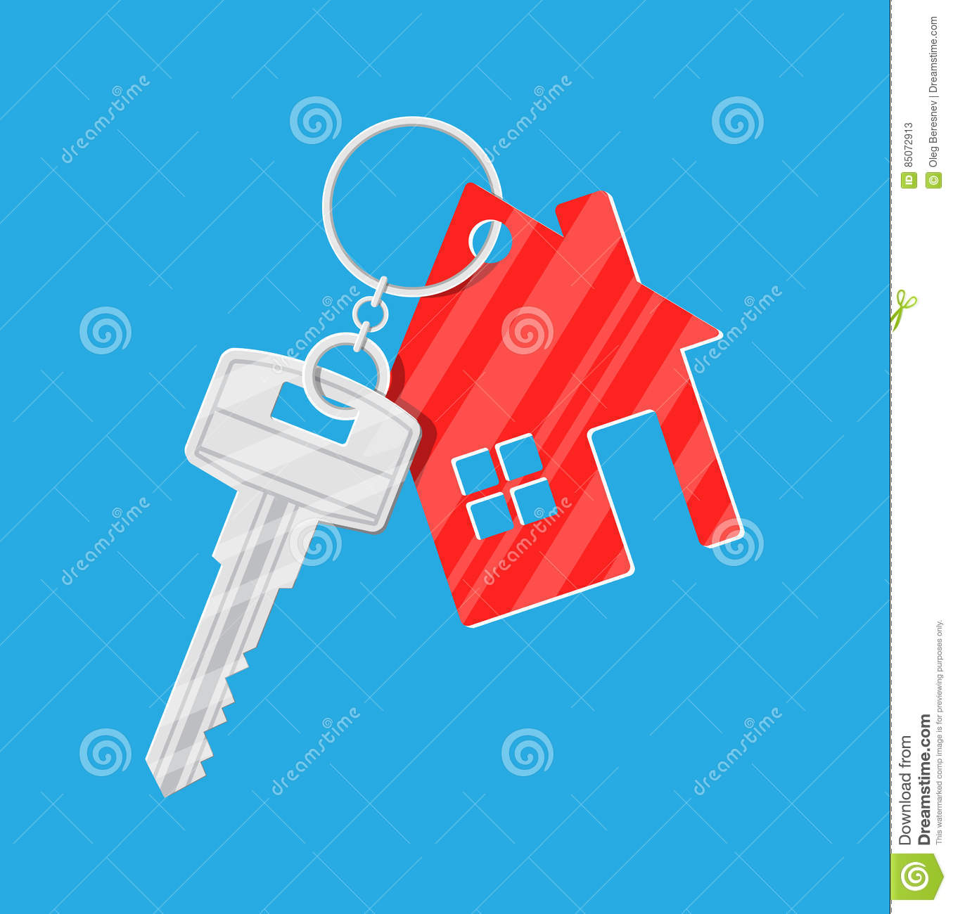 Vector Key Illustration: Metal Key With Keychain House In Flat Style Stock Vector