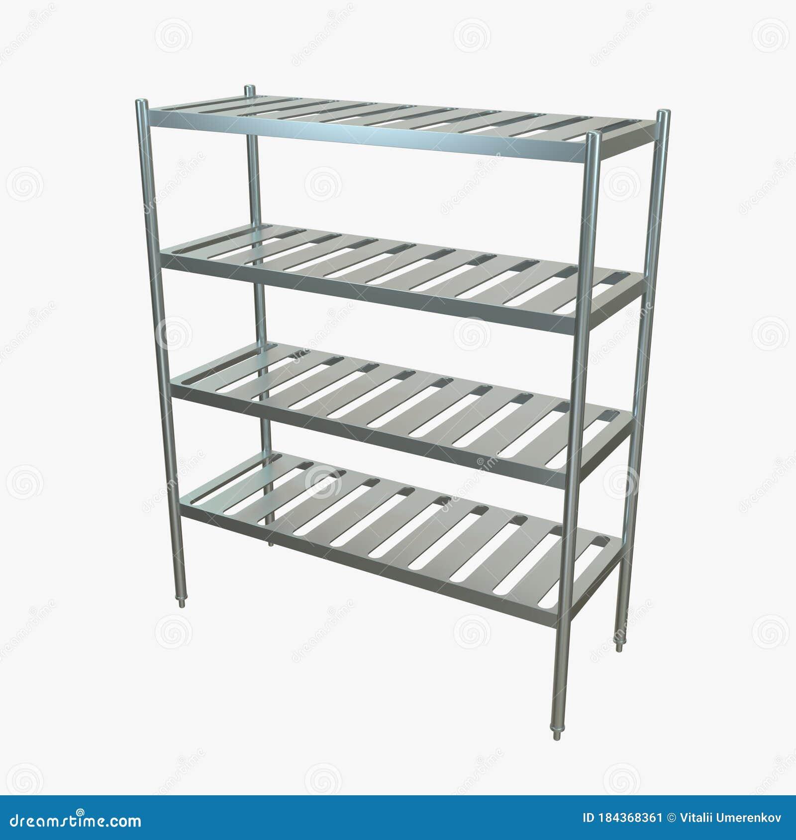 Picture of: Metal Kitchen Rack Kitchen Storage Stock Image Illustration Of Metal Shelving 184368361
