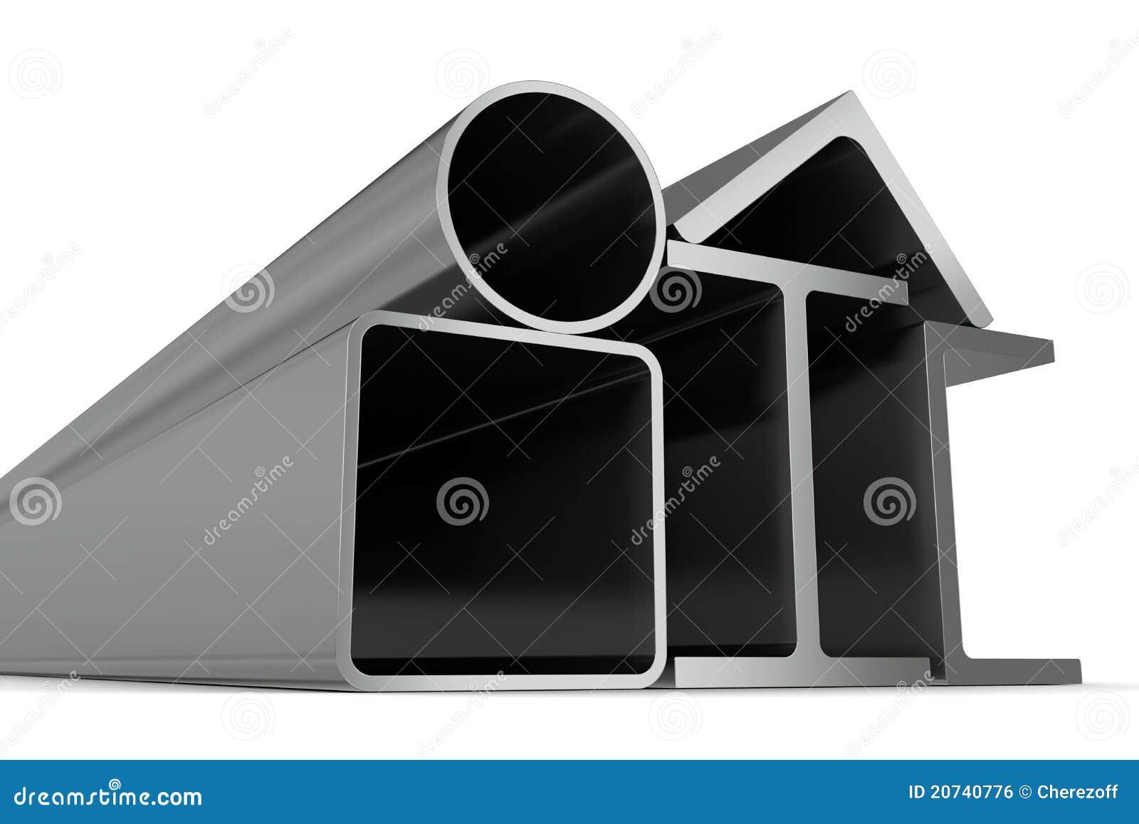 Metal la pipe, les poutres, les angles, les canaux et le t carré