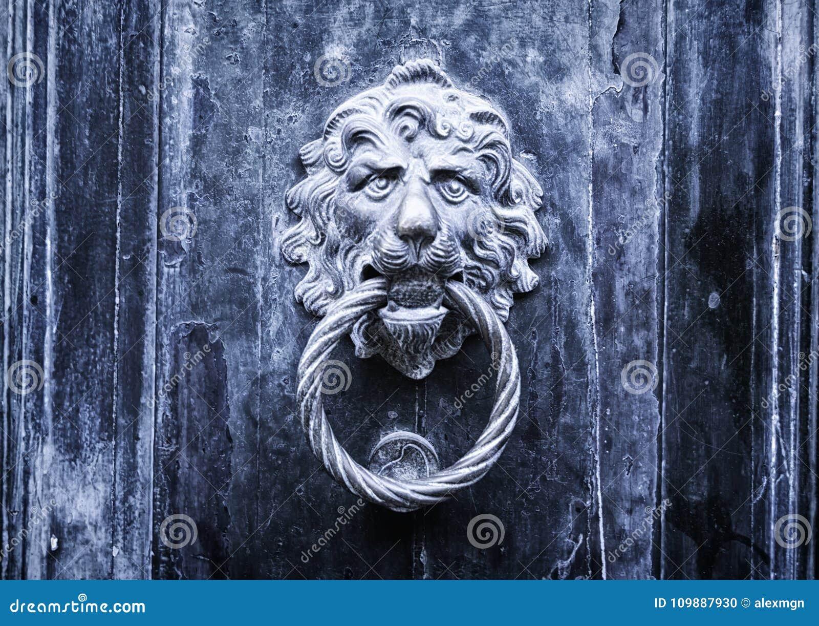 Metal la poignée de porte de lion - concept pour l antiquité, gothique, mystère