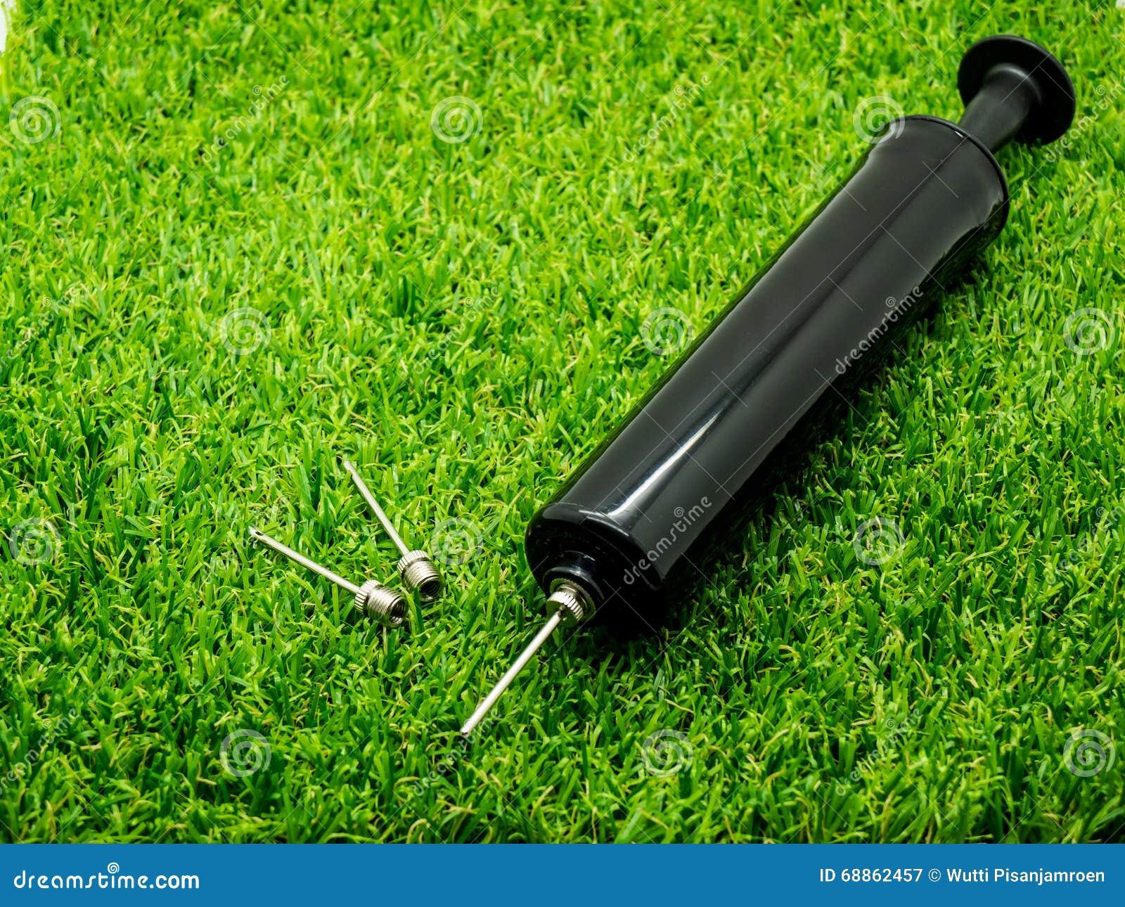 Metal la pompe résistante incluse par aiguille d inflation sur l herbe