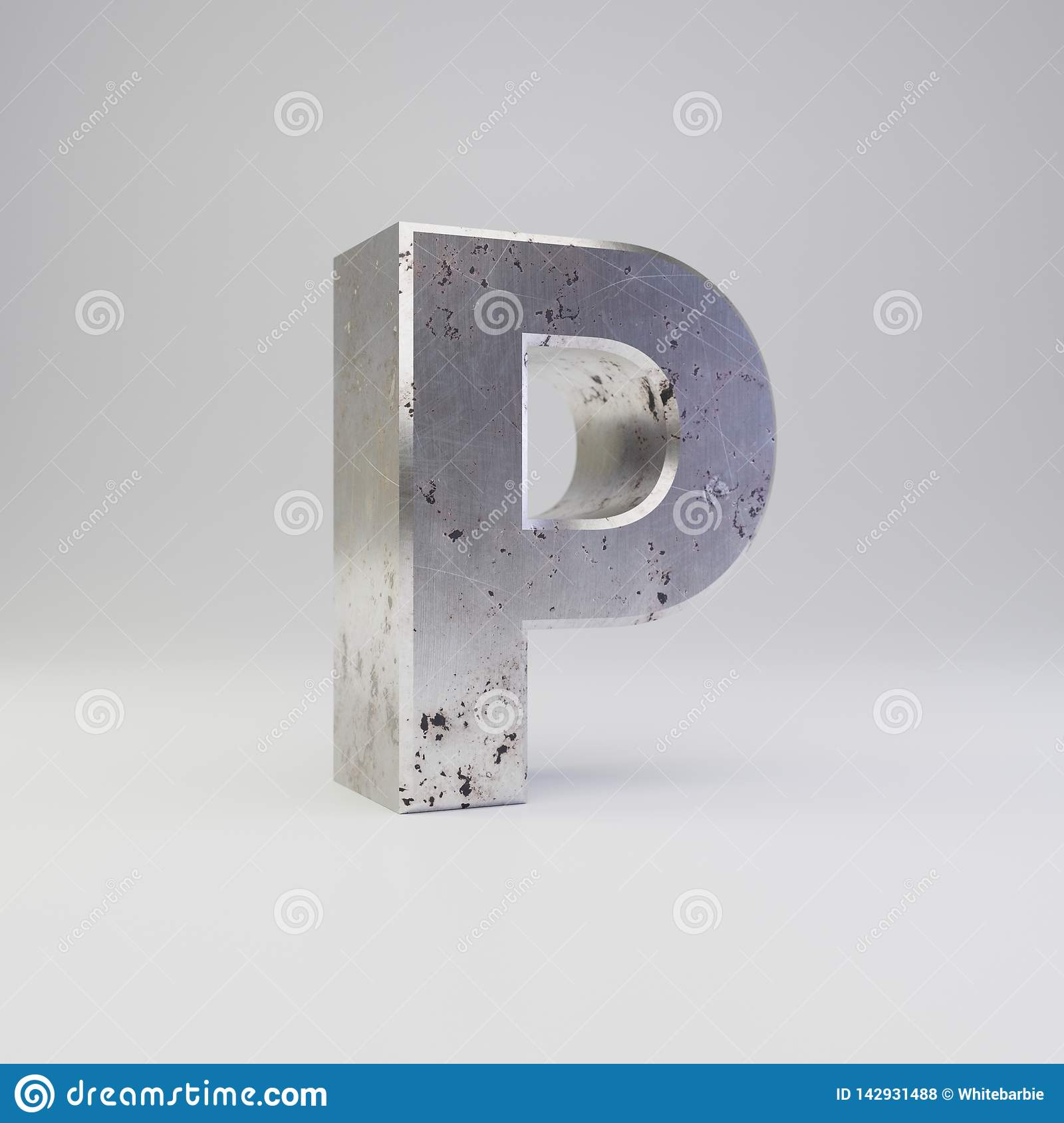 Metal letter P uppercase. 3D render scratched rusty metal font isolated on white background