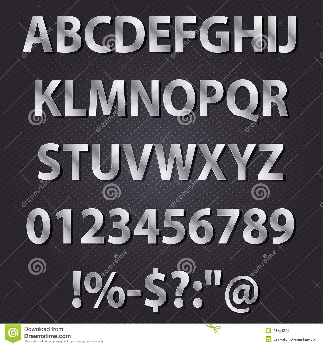 Download Metal Letters Style Alphabet Collection Set Stock Vector