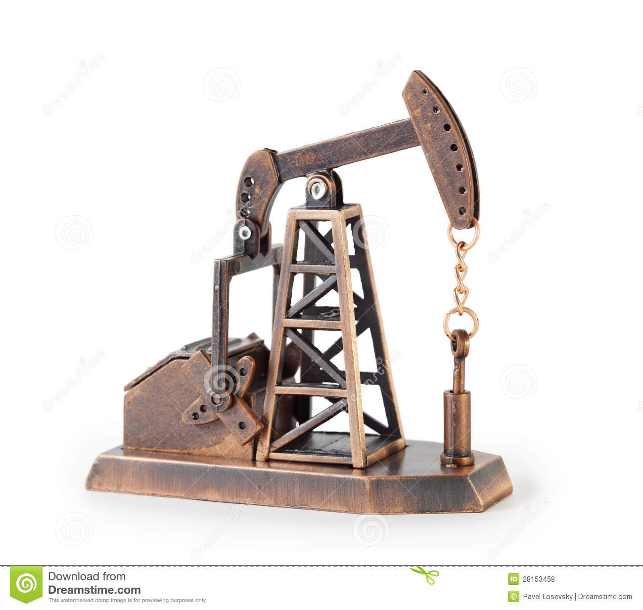Metal Mechanical Miniature Oil Derrick Isolated Stock