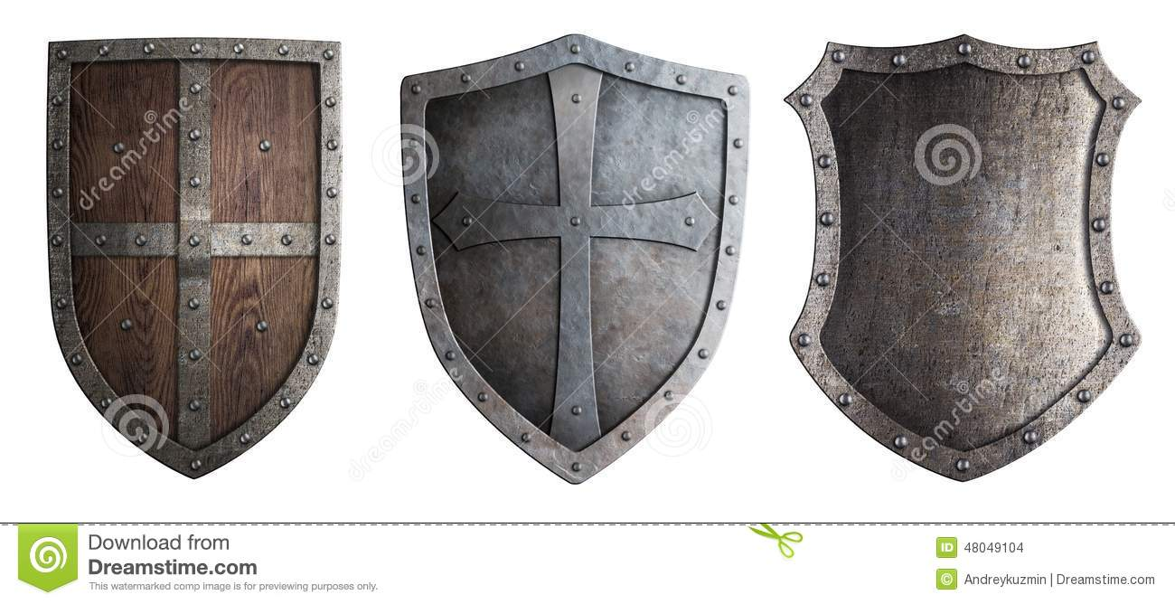 Metal Medieval Shields Set Isolated Stock Photo - Image: 48049104