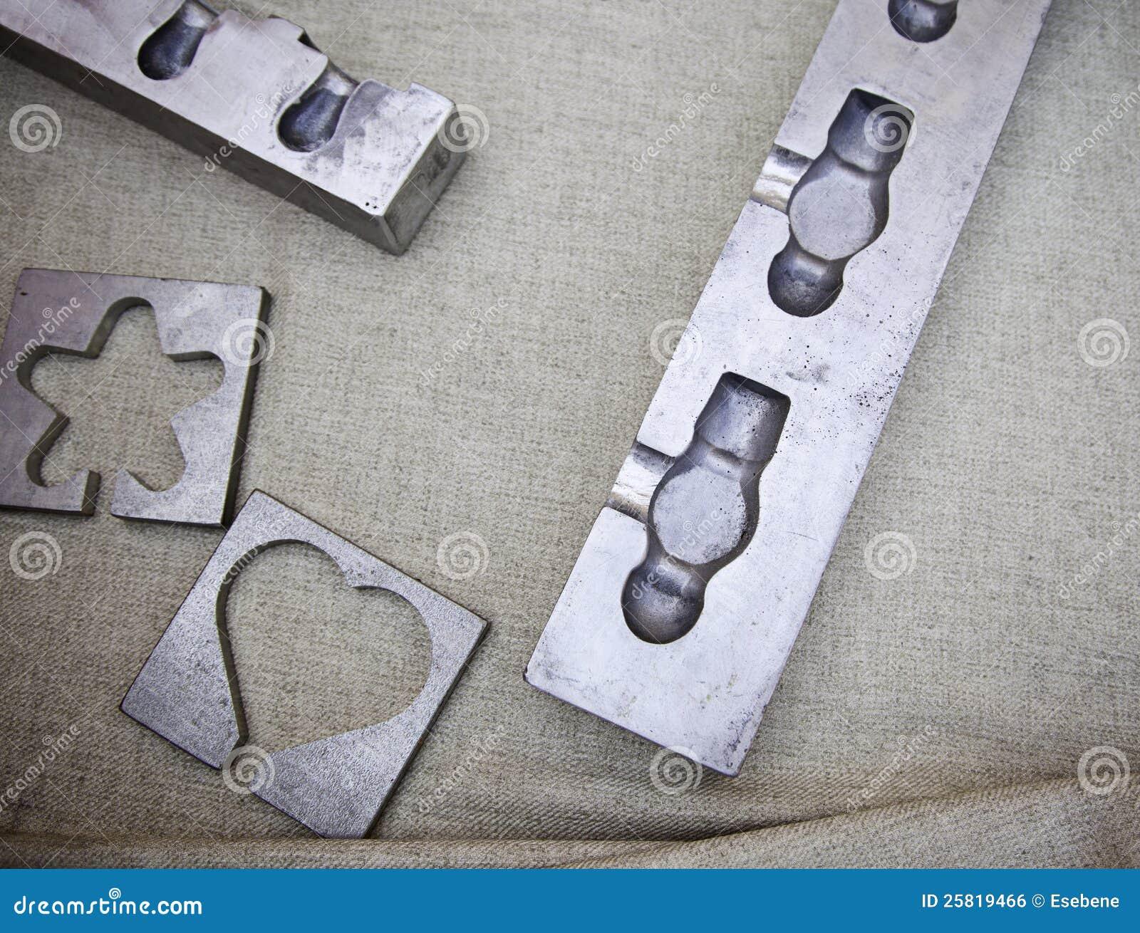 Steel Brick Mold : Metal molds royalty free stock image