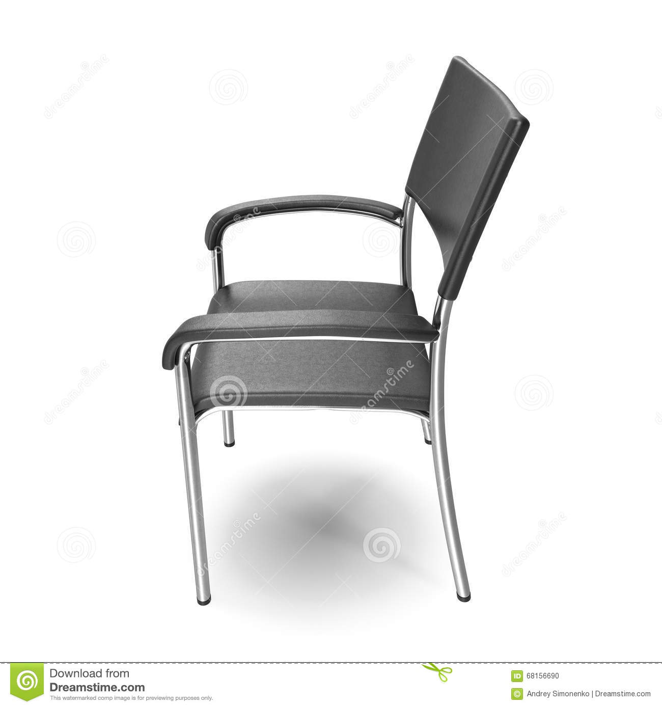 Modern Chair In Metal White Background Stock