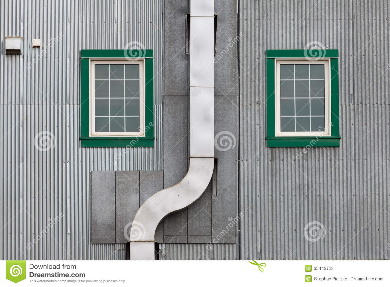 Metal Outside Duct Corrugated Iron Facade Windows Stock