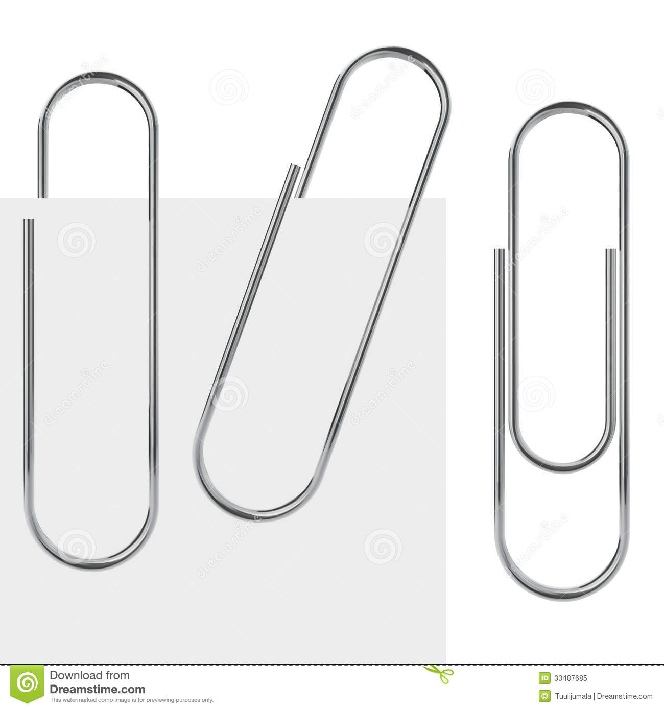 Metal paperclip template isolated on white background with samples.