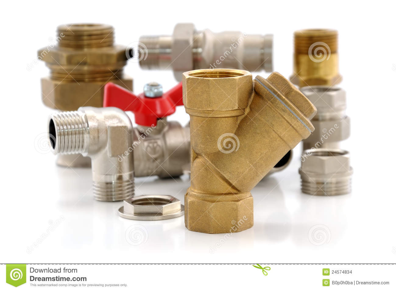 Metal Parts For Plumbing And Sanitary Equipment Stock Images