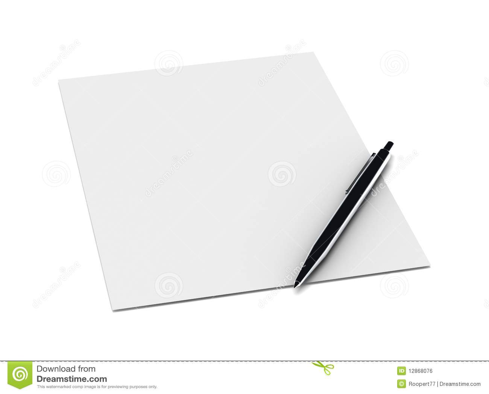 Metal Pen On A Blank Sheet Of Paper Stock Illustration