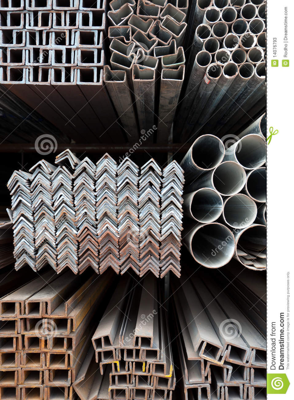 Metal Pipes And Angle Iron Stack Stock Image Image Of