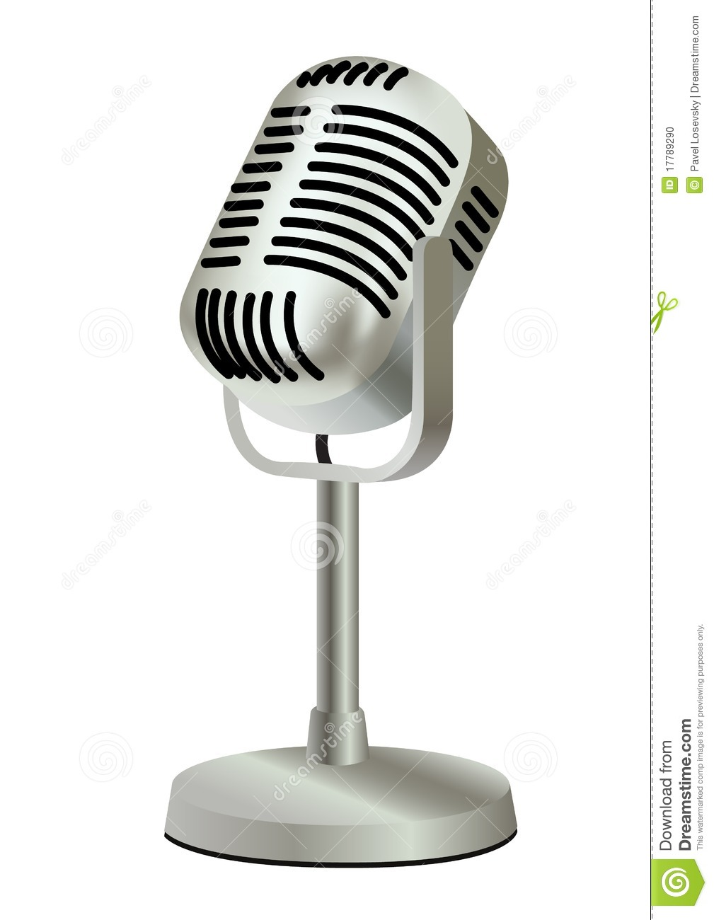 Metal Plastic Old Vintage Microphone Stock Vector