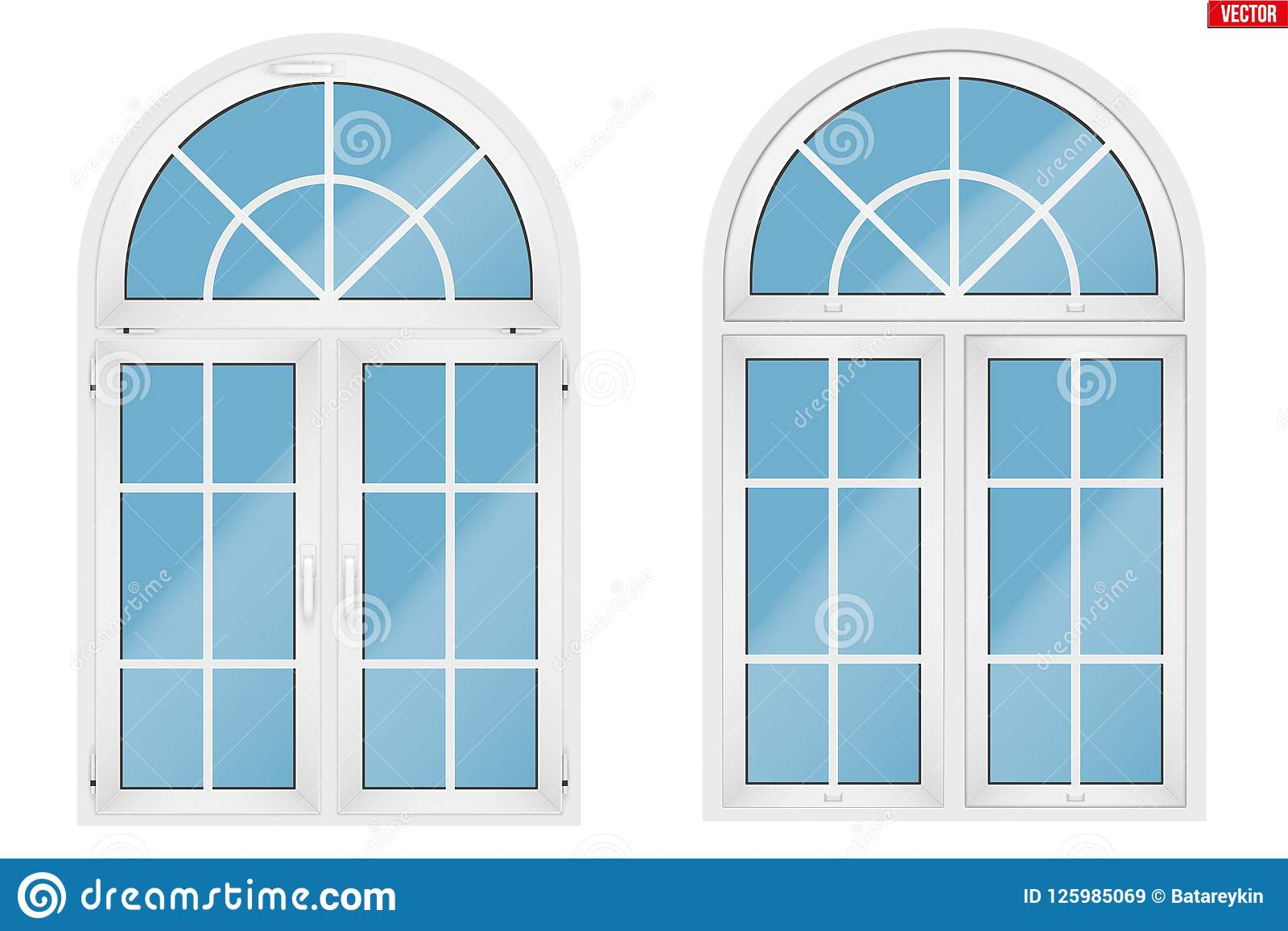 Ventanas Pvc Stock.Pvc Window With Arch Stock Vector Illustration Of Arch