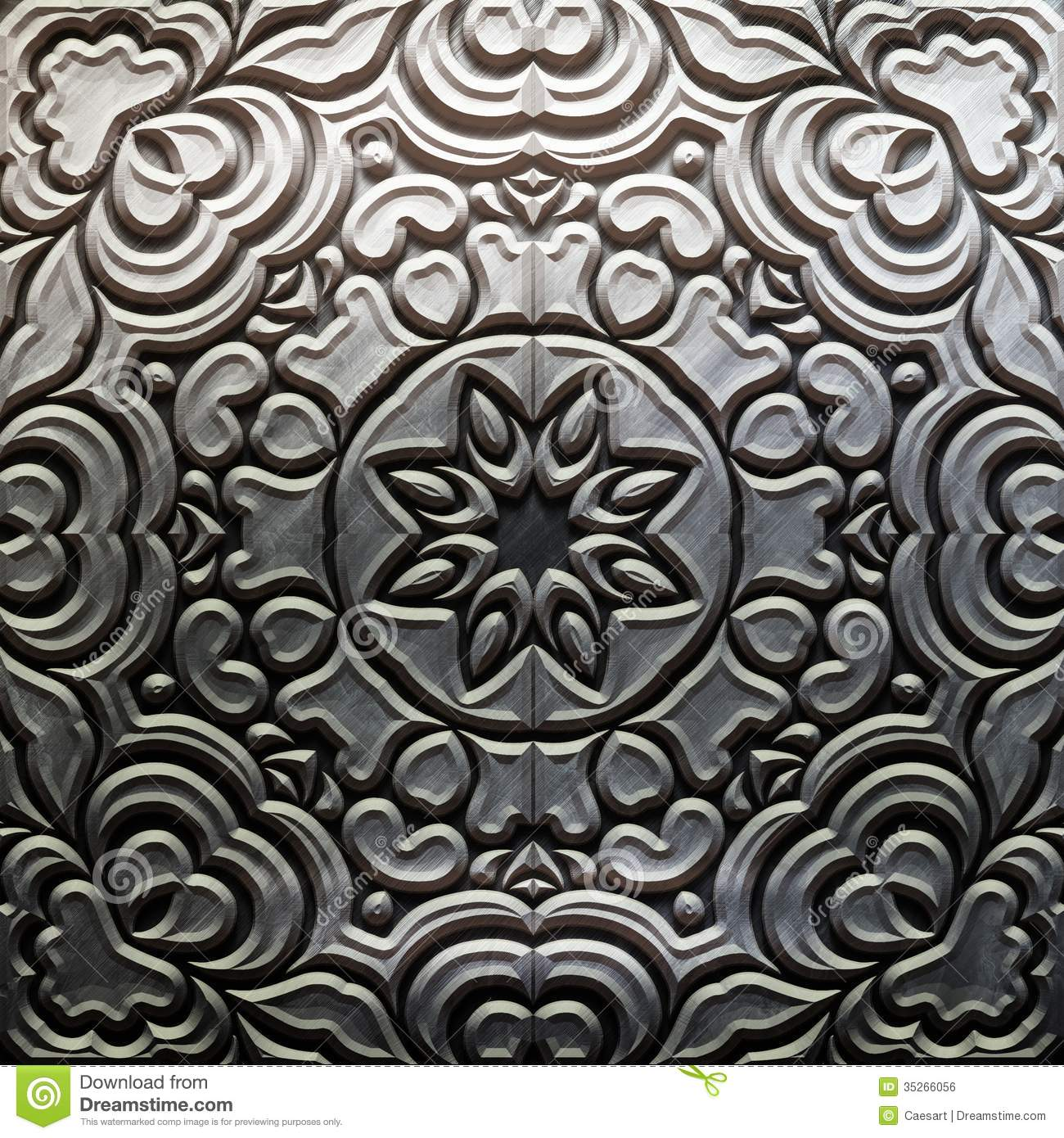 Metal plate with carved pattern royalty free stock image
