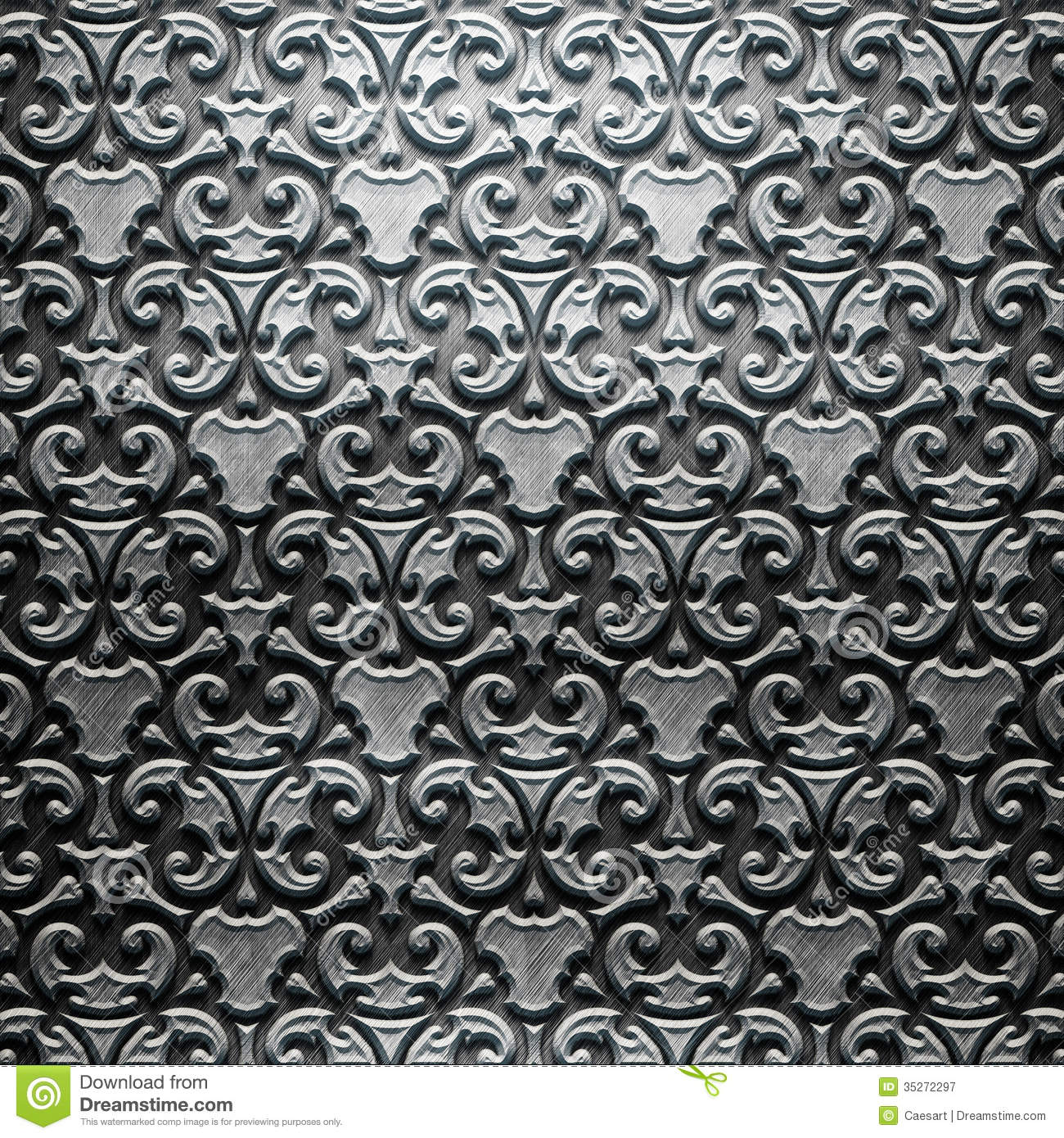 Metal plate with carved pattern stock image