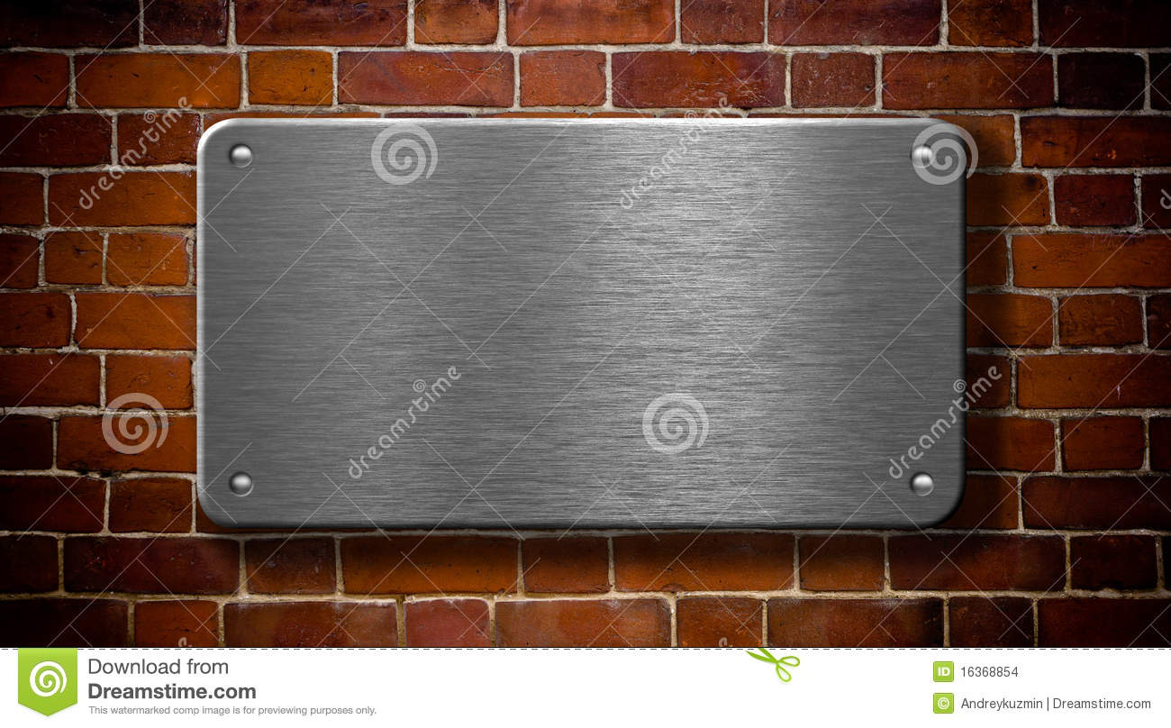 Metal Plate With Rivets On Brick Background Stock Images