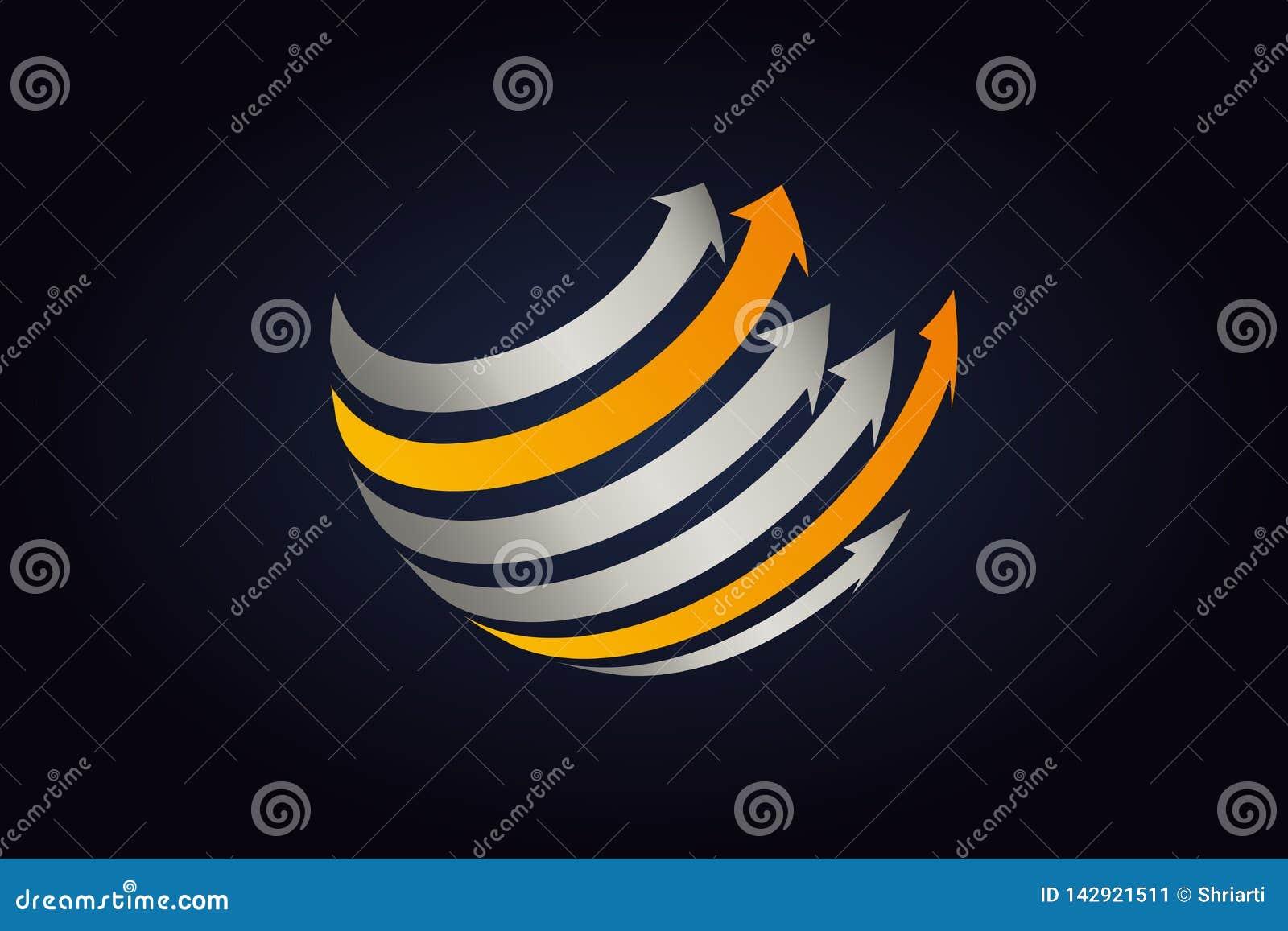 Metal plateado y flechas anaranjadas que circundan la forma de la esfera