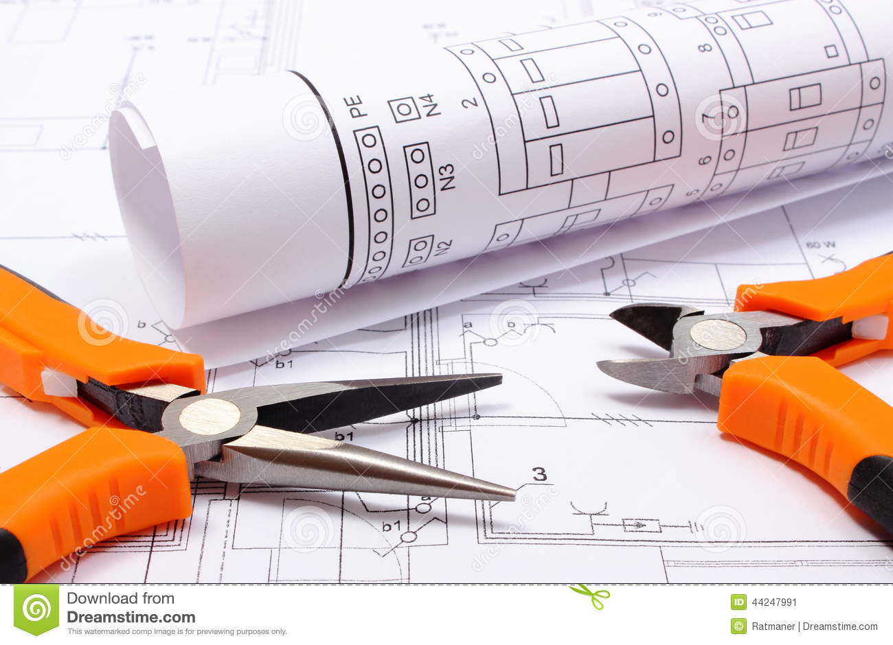Metal pliers and rolled electrical diagram on construction drawing download comp asfbconference2016 Gallery