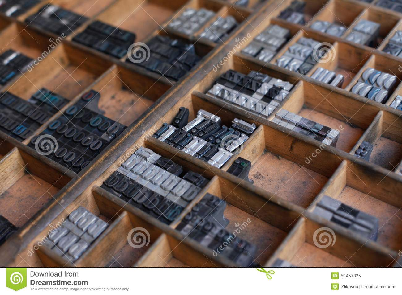 Metal Printing Press Letters Stock Photo
