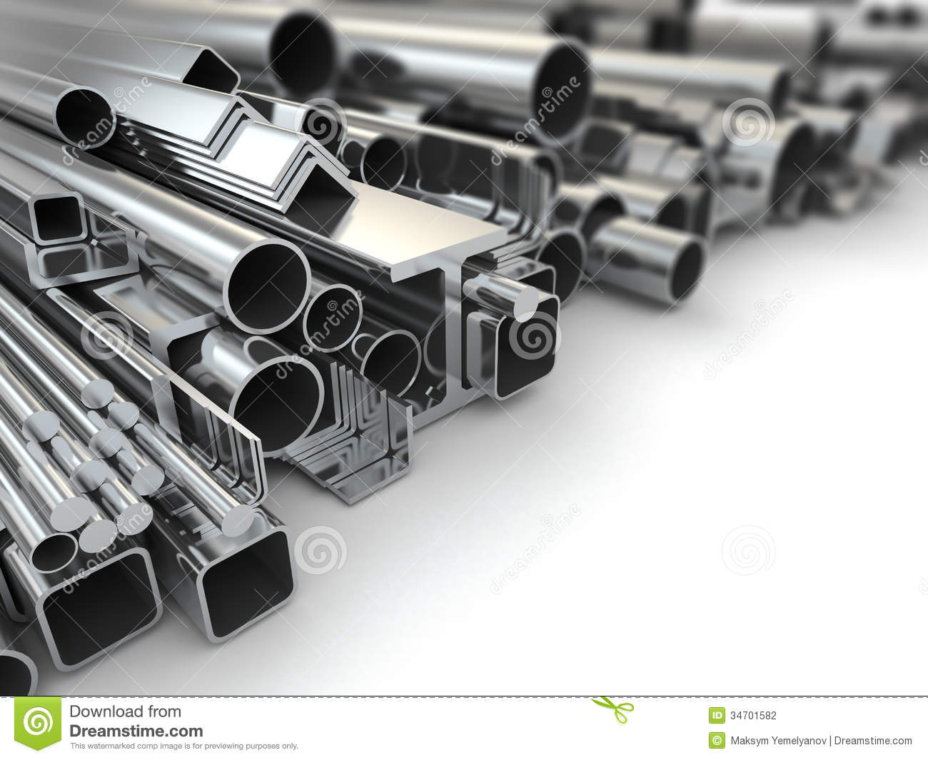 Metal Profile And Steel Pipes Background 3d Stock