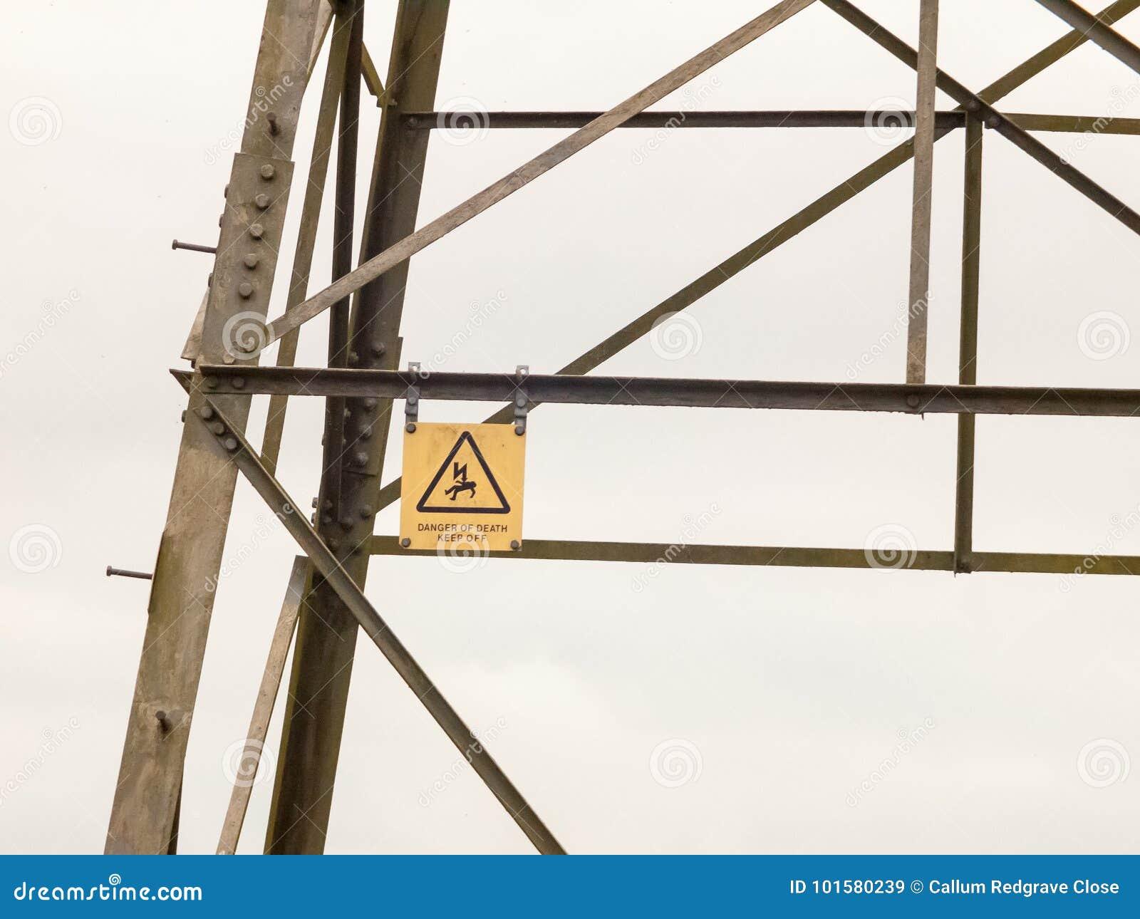 Metal Pylon Electrical Tower Sign Detail Danger Hazard Yellow De
