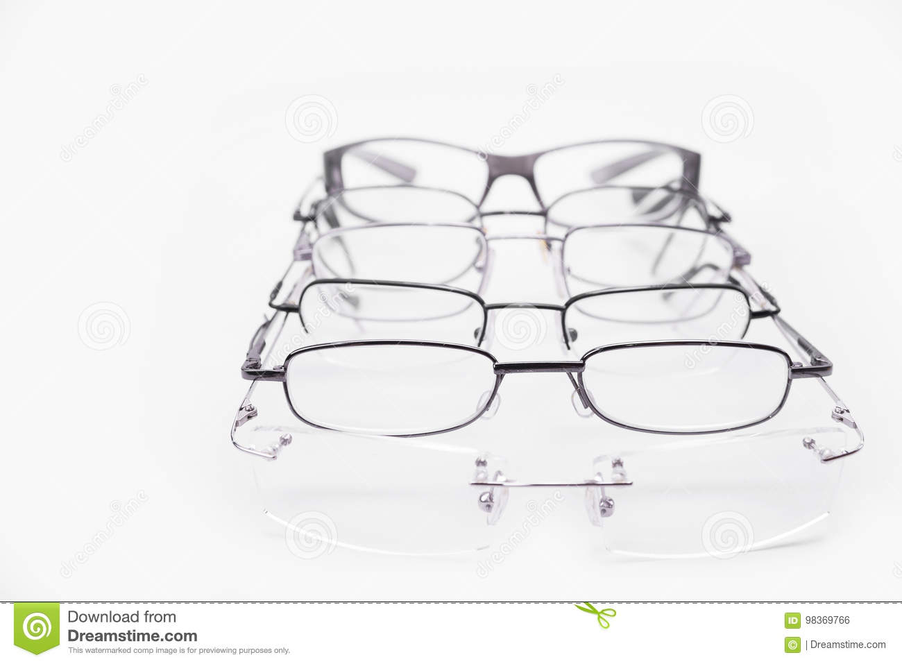 7e70ee5b1a Metal And Rimless Frames For Dioptrical Glasses Or Sunglasses Stock ...
