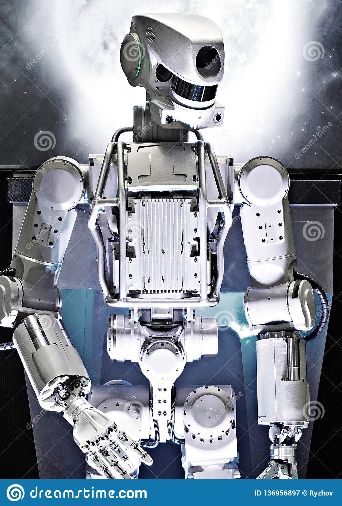 Metal robot on space background