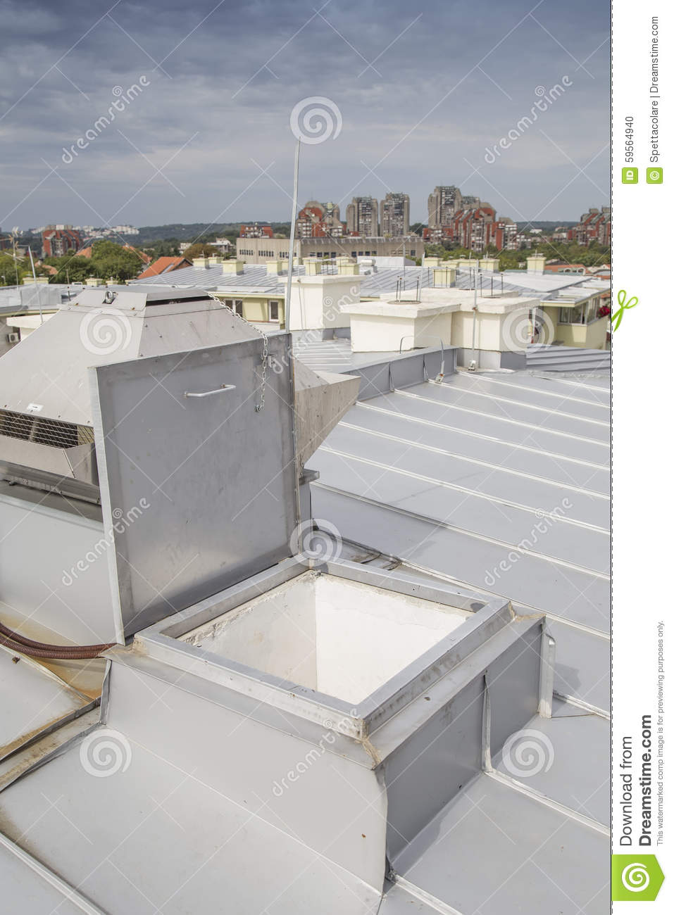 No Roof Access : Metal roof access hatch exit stock photo image